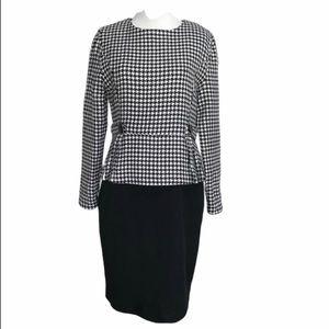 Dresses & Skirts - Black & White Houndstooth Peplum Dress Size Medium